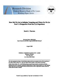How Did We Get to Inflation Targeting and Where Do We Go Now? A ...