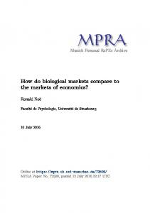 How do biological markets compare to the markets of economics?
