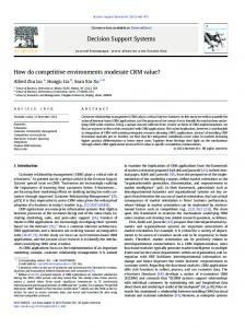 How do competitive environments moderate CRM ... - Semantic Scholar