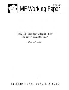 How Do Countries Choose Their Exchange Rate Regime? - WP ... - IMF