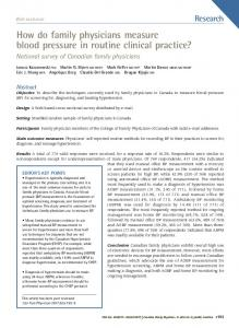 How do family physicians measure blood pressure in routine clinical ...