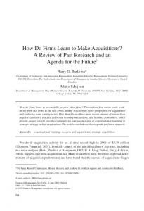 How Do Firms Learn to Make Acquisitions? A Review ... - SAGE Journals