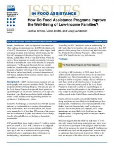 How Do Food Assistance Programs Improve the Well ... - naldc - USDA