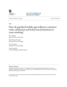 How do gamified mobile apps influence customer ... - Research Online