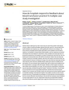 How do hospitals respond to feedback about blood transfusion ... - Plos