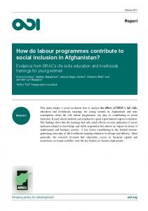 How do labour programmes contribute to social inclusion in ... - Refworld