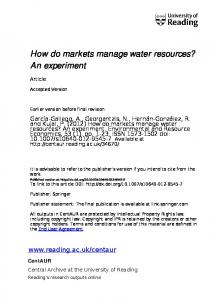 How do markets manage water resources? An ...