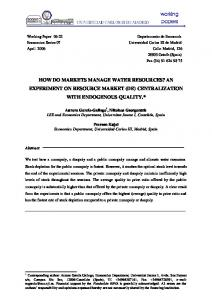 how do markets manage water resources? an experiment on ... - Core