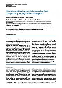 How do medical specialists perceive their competency as physician ...