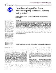 How do newly-qualified doctors perceive empathy in medical training ...