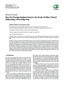 How Do Nursing Students Perceive the Needs of Older Clients ...