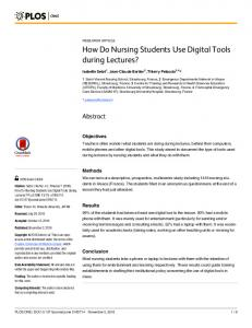How Do Nursing Students Use Digital Tools during ... - Semantic Scholar