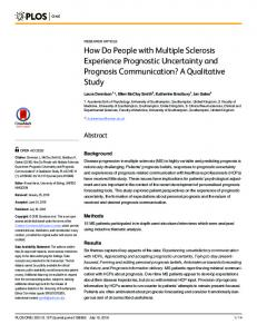 How Do People with Multiple Sclerosis Experience Prognostic ... - PLOS