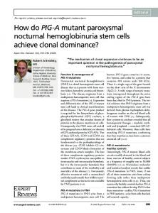 How do PIG-A mutant paroxysmal nocturnal hemoglobinuria stem ...