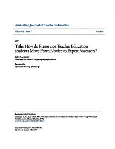 How do Preservice Teacher Education students Move From ... - Core