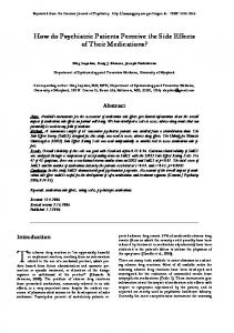 How do Psychiatric Patients Perceive the Side Effects of Their ...