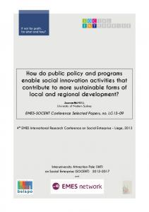 How do public policy and programs enable social innovation activities ...