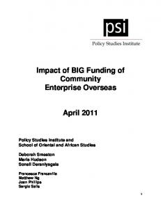 How do small enterprises contribute to economic ... - Big Lottery Fund