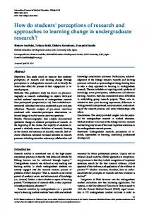 How do students' perceptions of research and approaches ... - CiteSeerX