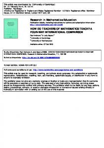 how do teachers of mathematics teach? a four-way ...