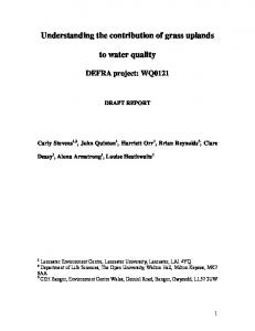 How do upland grasslands contribute to water quality - Lancaster EPrints