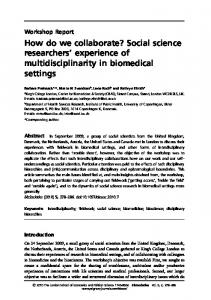 How do we collaborate? Social science researchers&rsquo