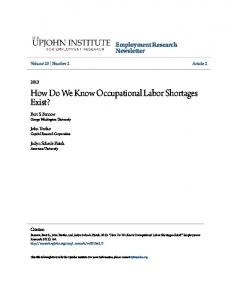 How Do We Know Occupational Labor Shortages ... - Upjohn Research