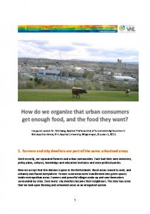 How do we organize that urban consumers get enough food, and the ...