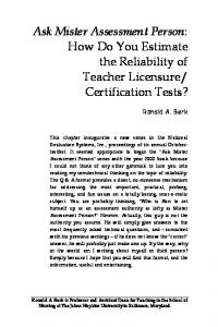 How Do You Estimate the Reliability of Teacher Licensure - Pearson ...