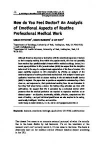 How do You Feel Doctor? An Analysis of Emotional Aspects of ...