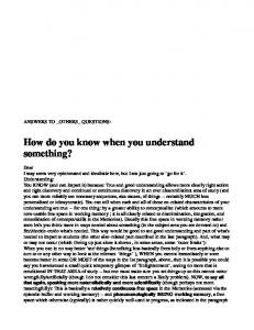 How do you know when you understand something?