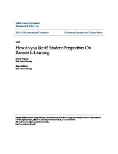 How do you like it? Student Perspectives On ... - Research Online