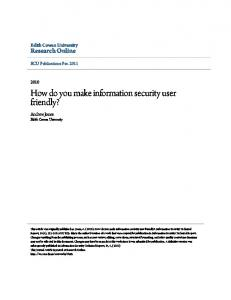 How do you make information security user friendly? - Research Online