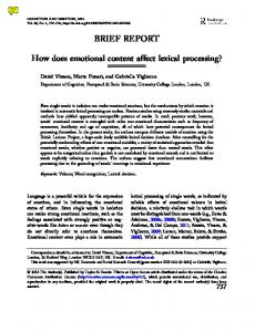 How does emotional content affect lexical processing?