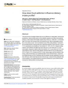 How does food addiction influence dietary intake profile? - PLOS