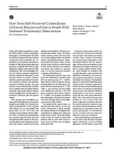 How Does Self-Perceived Unsteadiness Influence Balance and Gait in ...