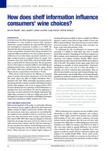 How does shelf information influence consumers ...