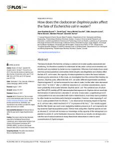 How does the cladoceran Daphnia pulex affect the fate of ... - PLOS