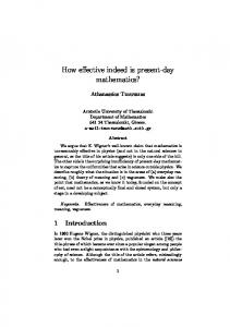 How effective indeed is present-day mathematics?
