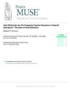 How Effectively Are We Preparing Teacher Educators in Special ...