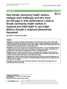 How female community health workers navigate work challenges and ...