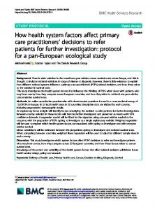 How health system factors affect primary care practitioners' decisions ...