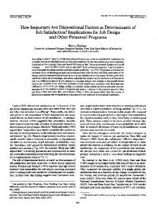 How Important Are Dispositional Factors as Determinants of Job ...