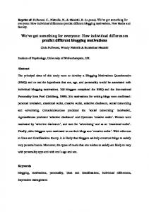 How individual differences predict different blogging ...