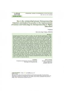 How is the relationship between Entrepreneurship Potential and ...