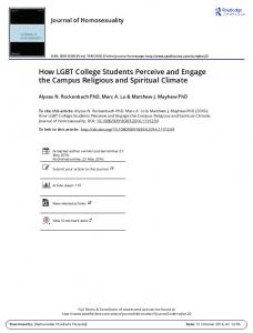 How LGBT College Students Perceive and Engage