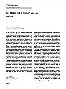 How Madoff Did It: Victims' Accounts - Springer Link