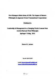 How Managers Make Sense of CSR - European Sustainability Academy