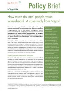 How much do local people value watersheds? A case study ... - Sandee