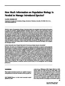 How Much Information on Population Biology Is Needed to Manage ...